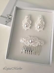 Sady šperkov - Fedora s perlou... svadobná sada (Biela) - 11647044_