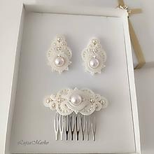 Sady šperkov - Fedora s perlou... svadobná sada (Krémová) - 11647072_