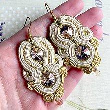 Náušnice - Beige Peach Elegant Soutache Earrings / Výrazné náušnice - sutašky - 11649130_