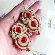 Náušnice - Red And Gold Elegant Soutache Earrings / Výrazné náušnice - sutašky - 11649176_