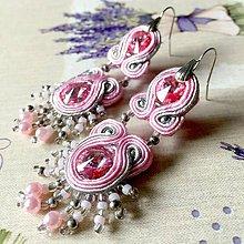 Náušnice - Rose Dust Soutache Earrings / Výrazné náušnice - sutašky - popol z ruží - 11649303_