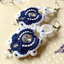 Náušnice - White and Sapphire Soutache Earrings / Výrazné náušnice - sutašky - 11649326_