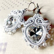 Náušnice - White and Silver Heart Soutache Earrings / Elegantné náušnice - sutašky - 11650005_