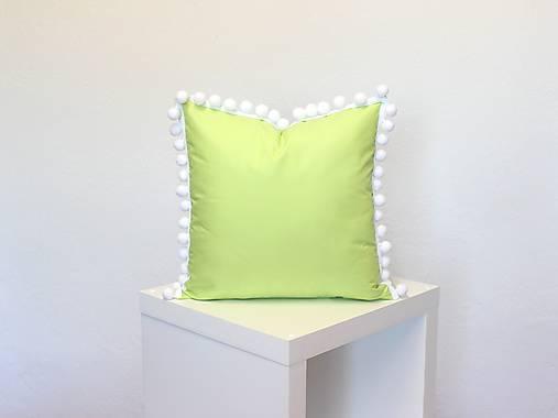 obliečka na vankúš zelená s brmbolcami (3veľkosti)