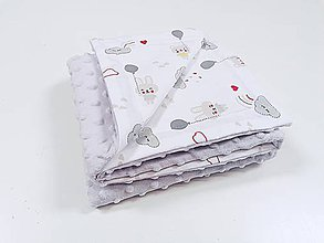 Textil - Minky deka sivá s mackom - 11651101_