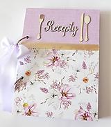 Papiernictvo - Receptár fialový s kvetmi - 11648690_
