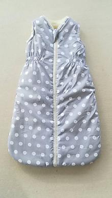 Textil - VLNIENKA Spací vak pre deti a bábätká ZIMNÝ 100% MERINO na mieru bodka pastelová šedá - 11650194_