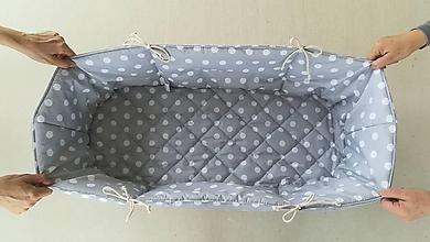 Textil - Vlnienka Hniezdo do vaničky kočíka 100% bavlna Bodka šedá pastelová na mieru - 11650286_