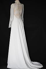 Šaty - Svadobné šaty Áčkového strihu s krajkou na chrbáte - 11650173_
