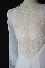 Šaty - Svadobné šaty Áčkového strihu s krajkou na chrbáte - 11650174_