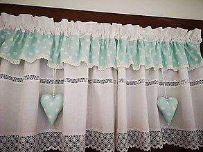 Úžitkový textil - Záclonka - bodka na mentolke - 11650387_