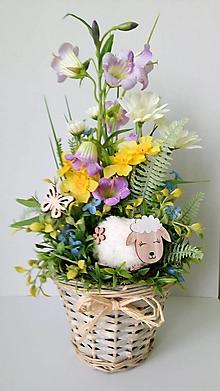 Dekorácie - Veselá jarná dekorácia v košíčku - 11649613_