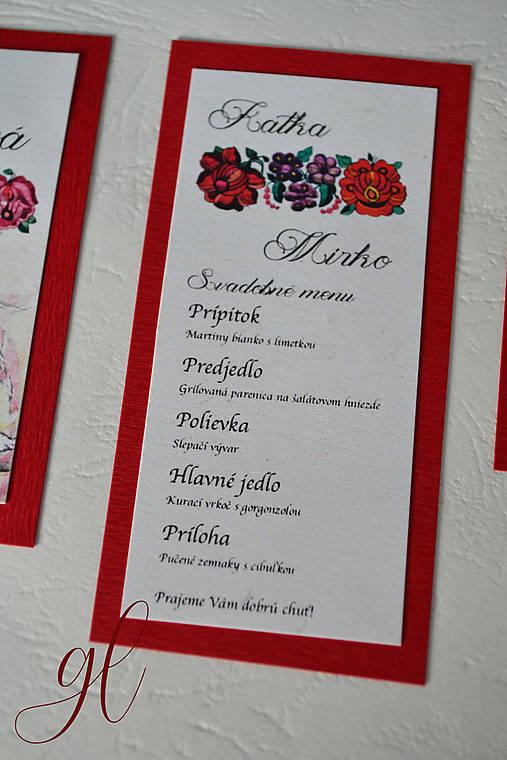 Svadobné tlačoviny folklórne, krivá ihla Detva (Svadobné menu)