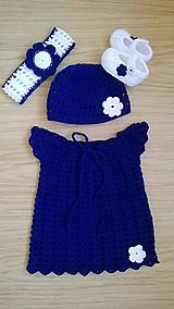 Detské oblečenie - Háčkované šatičky,čepička,čelenka a balerínky - 11651795_