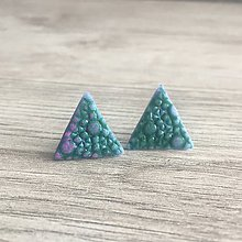 Náušnice - Trojuholníky napichovačky Dračia koža - 11652083_