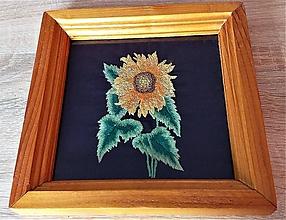 Obrázky - SLNEČNICA - zasklený vyšívaný obraz v ráme - 11652069_