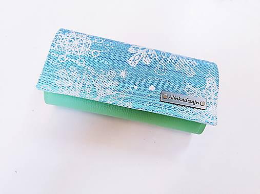 Priehradková peňaženka mentolová ekokoža + scrap SnowQueen