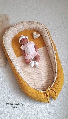Textil - XL Hniezdo pre bábätko - tmavo-žlté/horčicové - 11653645_