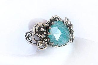 Prstene - antik prsteň s amazonitom v.49 / Ag 925 - 11655356_