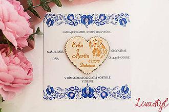 Papiernictvo - Svadobné oznámenie s darčekom  FOLK - 11653478_