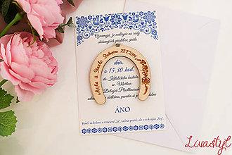 Papiernictvo - Svadobné oznámenie s darčekom  FOLK - 11653482_