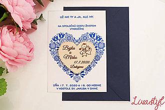 Papiernictvo - Svadobné oznámenie s darčekom  FOLK - 11653485_