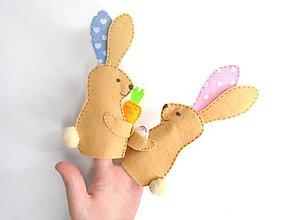 Hračky - Bábky na prsty: Veľkonočné (zajačikovia béžové) - 11654835_
