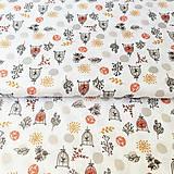 Textil - okrový slávik v klietke, 100 % bavlna Francúzsko, šírka 140 cm - 11652110_