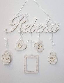 Detské doplnky - Drevené meno s údajmi na stenu - 11651870_