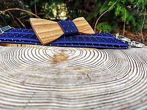 Doplnky - Pánsky drevený motýlik a traky - 11653290_