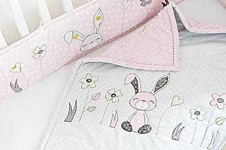 Textil - Deka pre dievčatko ružovo-šedá kvety - 11655086_