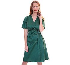 Šaty - Kelly - zavinovacie šaty, bavlnený satén, zelená - 11655525_