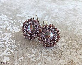 Náušnice - Nežné fialové kvetinkové Swarovski náušnice - 11653046_
