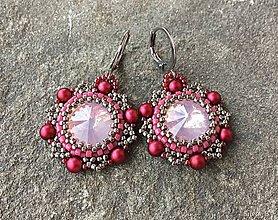 Náušnice - Ružovo-oceľové náušnice s opálovou rivolkou - 11654038_
