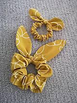 Ozdoby do vlasov - Set gumičiek scrunchie (OCHER) - 11654984_