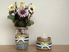 Dekorácie - Vintage set -  váza so svietnikom - 11653273_