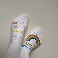 Obuv - Maľované ponožky s nápisom: Ja nič nemusím, ja som unicorn (35-37, 38-39, 39-42) - 11655066_