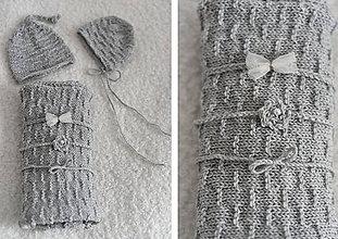 Detské oblečenie - Zvýhodnená cena - newborn svetlosivý wrap, čiapočky, čelenky - 11654141_
