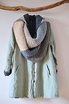 Kabáty - Lněný oboustranný kabátek - 11655052_