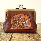 Peňaženky - Steampunk snail - kožená ramečeková peněženka - 11653284_