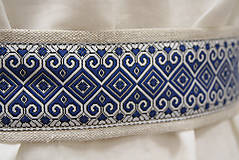 Opasky - Ľanový opasok Západ modrý - 11656998_