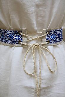 Opasky - Ľanový opasok Juh modrý - 11657018_