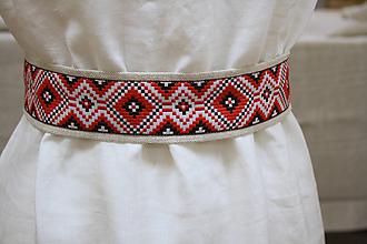 Opasky - Ľanový opasok Etno - 11657033_