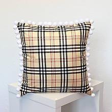 Úžitkový textil - obliečka na vankúš Káro hnedé s brmbolcami - 11659215_