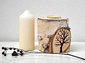Svietidlá a sviečky - Drevený svietnik-Strom - 11656159_