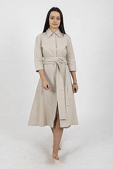 Šaty - -30% MIESTNE KOŠEĽOVÉ ŠATY ĽANOVÉ TAMARA (BÉŽOVÉ) - 11657720_