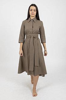 Šaty - -30% MIESTNE KOŠEĽOVÉ ŠATY ĽANOVÉ TAMARA (TMAVO HNEDÉ) - 11657770_