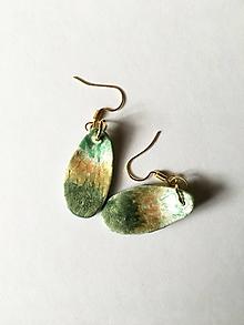 Náušnice - zelenozlatavé/keramika/ - 11658992_