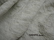 Textil - odstín  BROWN/WHITE stripes..100% len, š.163cm - 11656212_