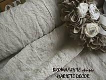 Textil - odstín  BROWN/WHITE stripes..100% len, š.163cm - 11656213_